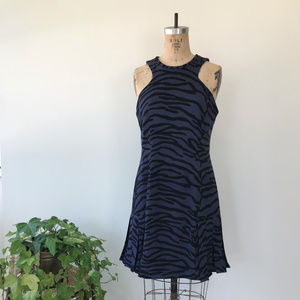Rebecca Taylor Crepe Tiger Print Flare Dress